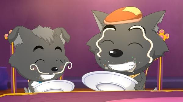 """灰太狼和小灰灰父子俩为了实现红太狼的童话梦想一飞冲天,""""中国好奶爸"""