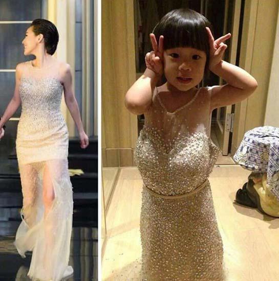 小s与3岁女儿穿同款礼服 网友:买家秀和卖家秀