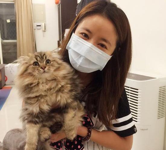 林心如素颜抱猫咪卖萌