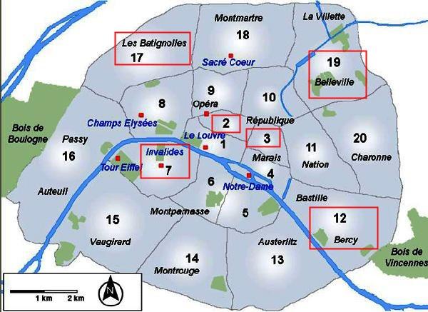 巴黎分区地图及本文出现地点标注
