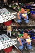 """蔡少芬""""人日""""庆生 蹲在菜市场大吃美食接地气"""