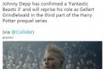 《神奇动物3》明年开机 德普将继续饰演格林德沃