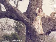 安妮·海瑟薇新写真亲近自然 草丛中树上皆是秀场