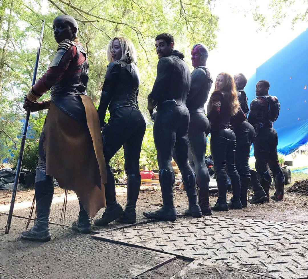 漫威翘臀醒目!《复联3》片场超级英雄替身晒翘臀