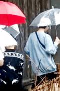 鹿晗录制《向往》保温杯不离手 与陈赫雨中同行