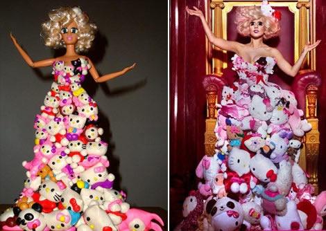 """时尚设计师陆维康日前推出一系列""""lady gaga奇特造型""""的芭比娃娃,包含"""
