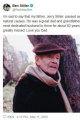 喜剧演员杰瑞·斯蒂勒逝世 系本·斯蒂勒父亲